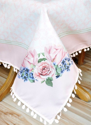 Çiçek Desenli Masa Örtüsü - 140*140 Cm - Pembe-The Mia